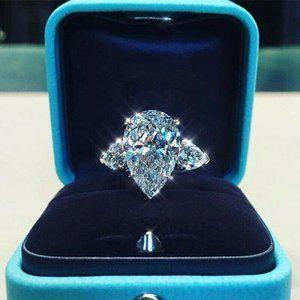 Pear Shape Cut White Sapphire .925 Silver Ring